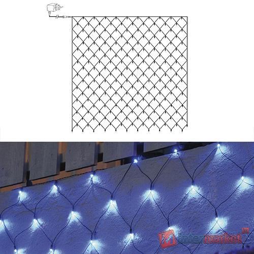Гирлянда сетка 3х3м голубая кабель черный 10м 180диодов LED outdoor